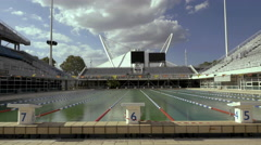 4K Greek Olympic stadium swimming pool Stock Footage