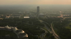 Olimpia park and highway Munich skyline Stock Footage