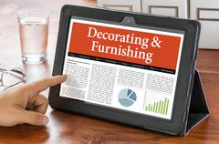 A tablet computer on a desk - Decorating and Furnishing - stock photo