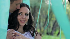 Stock Video Footage of the bride and groom tenderness and laughter in the park
