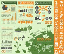 Environment, ecology infographic elements. Environmental risks, ecosystem. Te - stock illustration