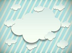Vintage card with cut out white paper clouds - stock illustration