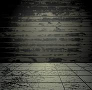 Concrete grunge room with old wooden wall - stock illustration
