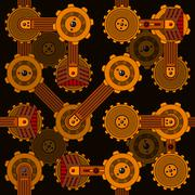 Seamless cogwheel pattern with screwed hitech connectors - stock illustration