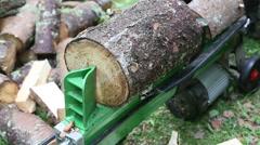Wood splitting machine Stock Footage