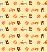 Pale seamless pattern with toys - stock illustration