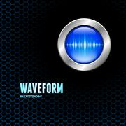 Stock Illustration of Silver button with sound wave sign