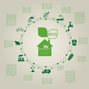 Stock Illustration of Environment, ecology infographic elements. Environmental risks, ecosystem. Te