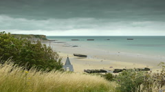 Memorial beach at Arromanches, France Stock Footage