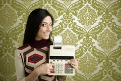 Retro accountant woman calculator wallpaper Stock Photos