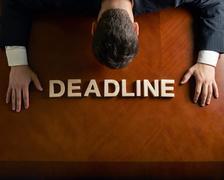 Word Deadline and devastated man composition - stock illustration