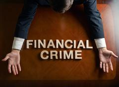 Stock Illustration of Phrase Financial Crime and devastated man composition