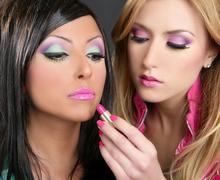Lipstick fashion girls barbie doll makeup retro 1980s - stock photo