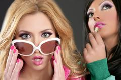 fashion barbie doll style girls pink lipstip makeup - stock photo