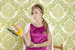 Clothes iron vintage woman retro housewife humor - stock photo