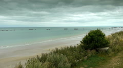 D Day coastline at Arromanches, France Stock Footage