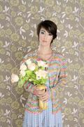 retro woman portrait 60s fashion vintage - stock photo