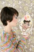 retro woman mirror fashion portrait tacky - stock photo