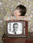 retro woman in love with tv senior handsome hero - stock photo