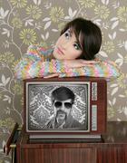 retro woman in love with tv nerd hero - stock photo