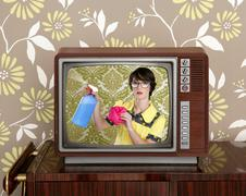 Ad tvl retro nerd housewife cleaning chores Stock Photos