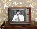 Retro tv presenter mustache man wood television Stock Photos