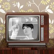 futuristic retro contrast vintage tv future woman - stock photo