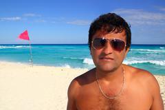 Mexican latin tourist humor suspicios in caribbean - stock photo