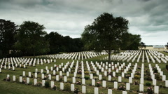 Canadian memorial crosses at a soldier cemetery in France Stock Footage
