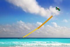 Advertise beach parachute boat yellow copyspace Stock Photos