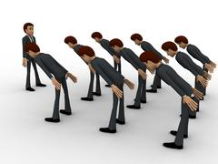 3d men leaning to boss with respect concept - stock illustration