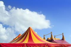 Circus tent red orange and yellow stripped pattern - stock photo