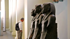 London, United Kingdom. April 2015. Tourists in the British museum. Egypt Stock Footage