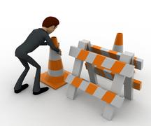 3d man with traffic cones and hurdle concept Stock Illustration