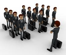Stock Illustration of 3d man addressing group of executives concept