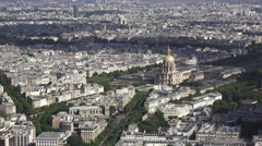 Aerial view of the Dôme des Invalides (in 4K), Paris, France. Stock Footage