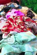 Textile fabric colorful market bargain showcase Stock Photos