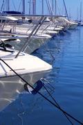 Boats bow in marina Mediterranean sea bow detail Stock Photos
