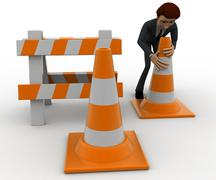 3d man with traffic cones and hurdle concept - stock illustration