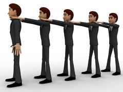 3d men in queue and hands on sholuder of another man concept - stock illustration