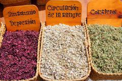 Stock Photo of herbal natural medicine market traditional medicine