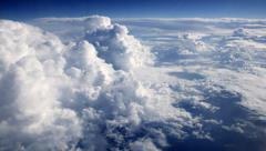 Blue sky clouds view from aircarft airplane Stock Photos