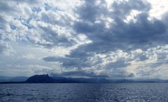 Cloudy seascape blue ocean sea in Mongo Denia Kuvituskuvat