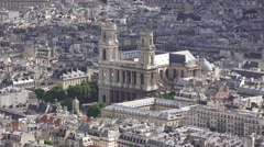 The Église Saint-Sulpice (in 4K) viewed from the Tour Montparnasse, Paris. - stock footage