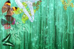 grunge green color background with butterflies - stock photo
