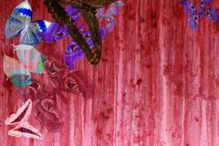 grunge red color background with butterflies - stock photo