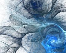Abstract fractal design. Blue smoke on white. - stock illustration