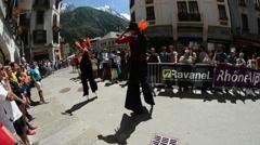 Street performers Chamonix Mont Blanc Marathon Stock Footage