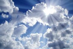 Beams of light sky blue with white clouds Stock Photos