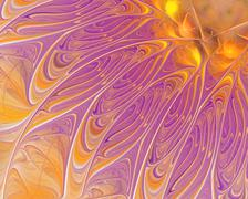 Abstract fractal design. Violet feathers on yellow gold. - stock illustration